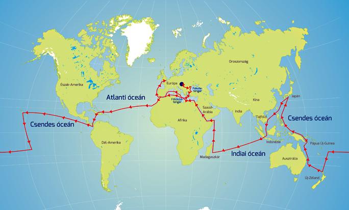 Segelfahrt um die Erde 2016-2019! Seekarte über die Strecke